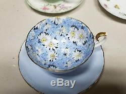 Shelley Blue Daisy Chintz Lincoln Shape Cup & Saucer Ripon Plate Gold Trim