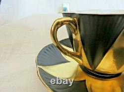 Shelley Harlequin Star BLACK & GOLD Cup & Saucer HTF
