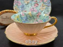 Shelley MELODY CHINTZ FOOTED OLEANDER CUP, SAUCER AND 7 PLATE # 13412