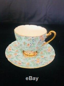 Shelley Marguerite Chintz Footed Cup & Saucer #13694 Gold Trim Ds36