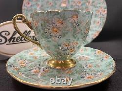 Shelley Marguerite Chintz Ripon Shape Cup, Saucer And Plate #13694 Gold Trim