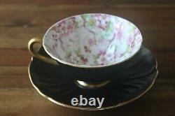 Shelley Maytime Chintz Black Oleander gold teacup tea cup saucer pink flowers