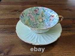 Shelley Melody Chintz Green Oleander gold teacup tea cup saucer pink flowers