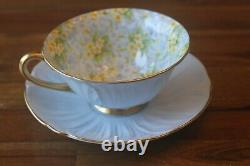 Shelley Primrose Chintz Light Blue Oleander Teacup Tea cup saucer gold
