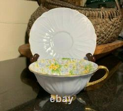Shelley Primrose Chintz Oleander Shape Cup & Saucer Light Blue Gold Trim 13588