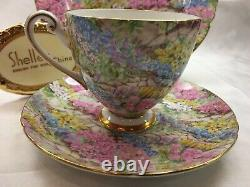 Shelley Ripon Rock Garden Chintz Cup, Saucer And Plate Gold Trim #14267