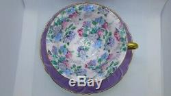 Shelly Oleander Gold Footed Cup & Saucer Summer Glory Chintz Lavender 13418
