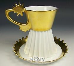 Signed Rosenthal Gold/white Star Shaped Coffee Cup Saucer Otto Piene