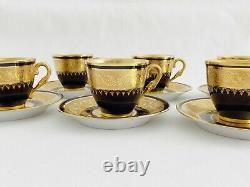 Six Old A. Prevot Limoges French Double Gold & Cobalt Demitasse Cups & Saucers