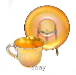 Steuben Aurene Gold Iridescent Cup & Saucer