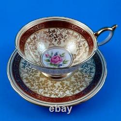 Stunning Deep Red Border with Gold Design & Pink Rose Aynsley Tea Cup & Saucer