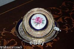 Stunning PARAGON Pink Rose/Cobalt Blue/Heavy Gold/Lace Tea Cup & Saucer #A515