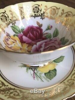 Stunning Paragon Tea Cup & Saucer Duo, Gold, Pink & Yellow Cabbage Roses