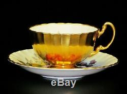 Superb Footed Cup & Saucer Set Orchard Aynsley Flowers and Gold signed Ja. Bailey
