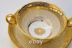 Superb Set Of 12 Tiffany Cauldon Gold Encrusted Soup Bullion Cups & Saucers
