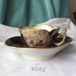 Tea cup Saucer German Porcelain Gold Dresden Helena Wolfsohn Horse Antique