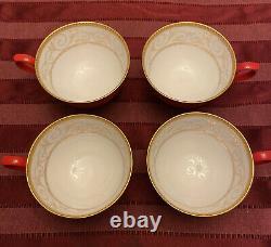 Teavana Exclusive Hand Finished Bone China Tea Set Pot Cups Saucers Red Gold