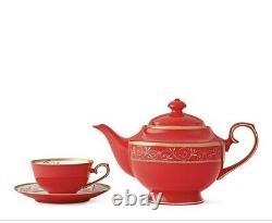 Teavana Ruby Red Tea Set Bone China Tea Set Teapot Cups Saucers Gold 17 Pcs Set