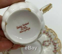 Theodore Haviland Limoges France Cup Saucer Pink Rose Swags Wreaths Double Gold