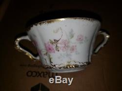 Theodore Haviland Limoges France Soup Boullion Tea Cup Saucer Double Gold Rose