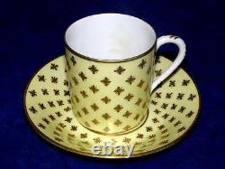 Tiffany & Co 1961 Le Tallec HP Pale Yellow Raised Gold Coffee Cup & Saucer
