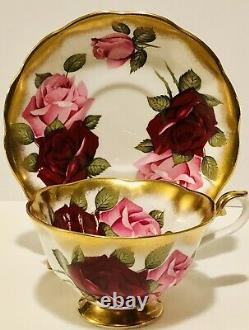 Treasure Chest Royal Albert Tea Cup & Saucer Huge Pink & Red Roses Heavy Gold