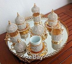 Turkish Arabic Coffee Water Tea Cup Jardiniere Tray Made with Swarovski Set GOLD
