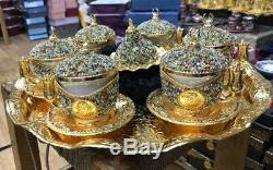 Turkish Coffee Nescafe Set Cup Saucer Tray Coloury Crystals Made with Swarovski