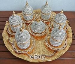 Turkish Greek Arabic Coffee Espresso Cup Saucer Tray Made with Swarovski GOLD