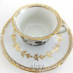 Two Richard Ginori Fiesole Demitasse Cups & Saucers Black And White With Gold