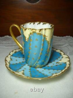 Unique Limoges Demitasse Cup & Saucer Pinwheel Design Saucer HP Gold Gilt 1890's