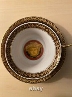 VERSACE BY ROSENTHAL, GERMANY MEDUSA RED Tea Cup & Saucer, Superb