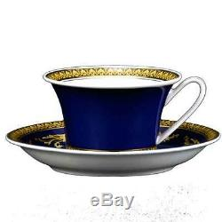 VERSACE MEDUSA 5 PIECE PLACE SETTING PLATE CUP SAUCER BLUE GOLD RetaL $750 SALE