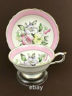 VTG Paragon by Appointment Pansies w Pink Band Footed Tea Cup Saucer Gold Trim