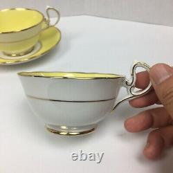 VTG ROYAL ALBERT Crown China Set Of 4 Tea Cup & Saucer Yellow Gold Bone RARE