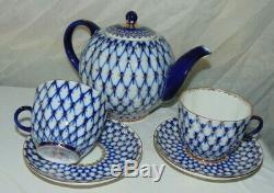 VTG Russian Imperial Lomonosov Porcelain Teapot Cups & Saucers Cobalt Net Gold