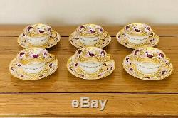 V-Rare Antique Royal Crown Derby SET OF 6 CUPS & SAUCERS c. 1900 Beautiful