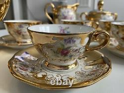 Veneziana Fine China Tea Set 22KT Gold Vintage 15Pcs Cups Saucers Jar Pot Bowl