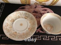 Versace Medusa Gala Cup Saucer Set Gold Greek Key Rosenthal New Retail $300 Sale