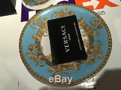 Versace Prestige Gala Bleu Cup & Saucer Set Gold Greek Key Rosenthal $400 Sale