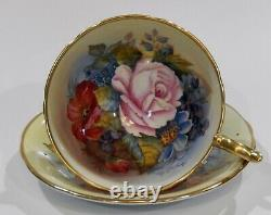 Very RARE Aynsley signed BAILEY All Gold ROSE & POPPY CUP & SAUCER Athens Shape