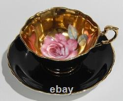 Very Rare PARAGON FLOATING PINK ROSE on GOLD GILDED Background CUP & SAUCER Mint