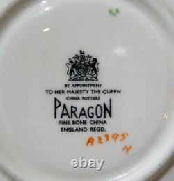 Very Rare PARAGON JOHNSON RED ROSE Cup & Saucer GOLD BURNISHED & BLACK COLOR