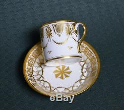 Very Rare Pouyat & Russinger Antique Empire Dore Cup & Saucer ca 1798 Neoclassic