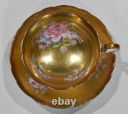 Very Rare RADFORDS PINK ROSE BOUQUET on ALL-GOLD GILDED Background CUP & SAUCER