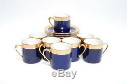 Vint Set 8 Raynaud Limoges Ambassador Cobalt Gold Encrustation Demi Cup & Saucer