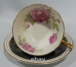 Vintage 1940s AYNSLEY PINK CABBAGE ROSE CUP & SAUCER on BLACK with Gold Filigree