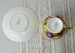 Vintage AYNSLEY Bone China GOLDEN ORCHARD Fruit & Gold TEA CUP & SAUCER N. Brunt