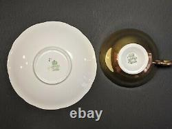 Vintage AYNSLEY Set J. A Bailey Signed Hand Painted Flowers Roses Gold Cup Saucer
