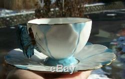 Vintage Ansley Fine Bone China Butterfly Handle Cup & Saucer Blue White Gold